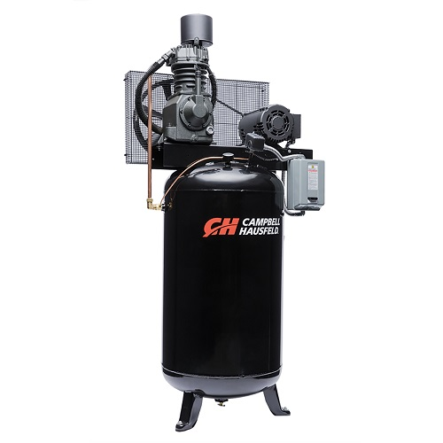 Campbell Hausfeld Air Compressor, 80-Gallon Vertical Two-Stage 25CFM 7.5HP 208-230/460V 3PH (CE7001) compressor side view