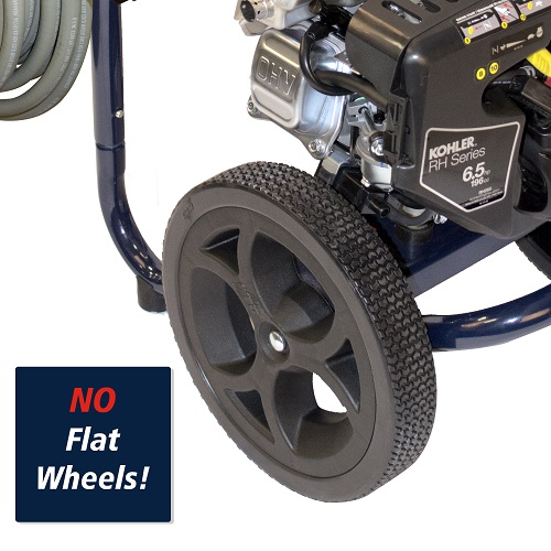 Gas Powered Pressure Washer, 3200 PSI, 2.4 GPM, Axial Pump, Kohler RH265 (PW320200) callout wheels