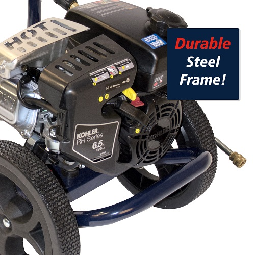 Gas Powered Pressure Washer, 3200 PSI, 2.4 GPM, Axial Pump, Kohler RH265 (PW320200) callout frame