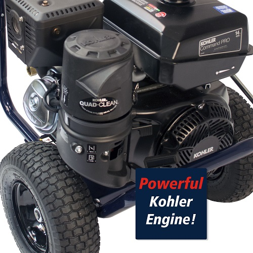 Gas Powered Pressure Washer, 4200 PSI, 4.0 GPM, Tri-plex Pump, Kohler CH440 (PW420400) callout kohler engine