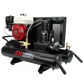 Campbell Hausfeld Air Compressor, 9-Gallon Wheelbarrow Single-Stage 10.2CFM 5.5 HP GX160 Honda (CE2000) product image left angle