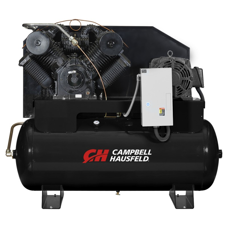 Campbell Hausfeld Air Compressor, 120-Gallon Horizontal Two-Stage 87CFM 25HP 208-230/460V 3PH (CE9004) product image center