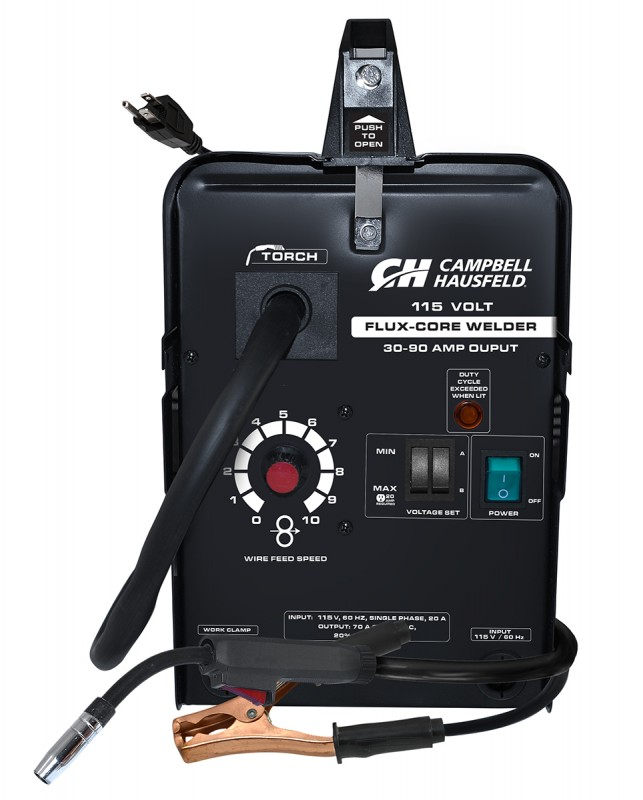 Campbell Hausfeld Flux Core Wire Welder 115 Volts 90 Amps with Welder Accessories front view